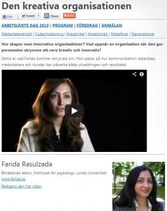 Farida Rasulzada - Den kreativa organisationen