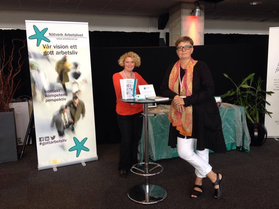 Camilla Ländin & Lisbeth Rydén vid Nätverk Arbetslivets utställarplats - #gottarbetsliv