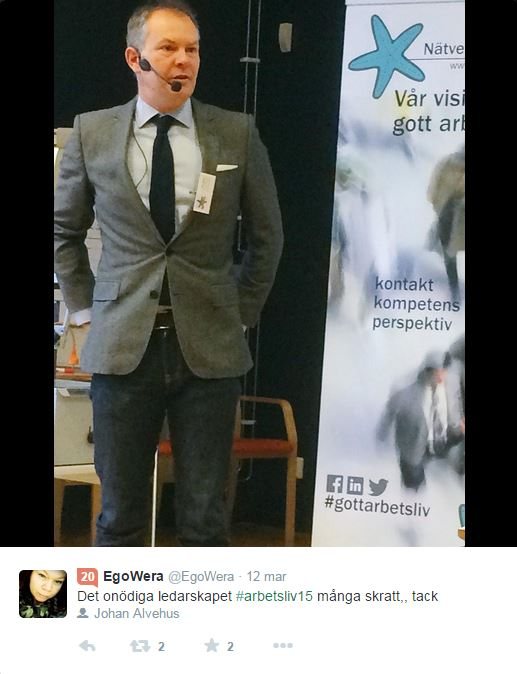 Johan Alvehus Arbetslivets Dag 2015. Foto EgoWera